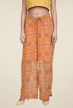 Juniper Orange Floral Print Palazzos