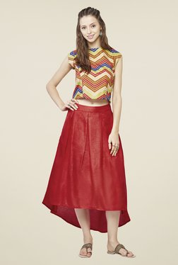 Global Desi Red Midi Skirt