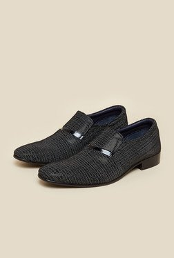 J. Fontini By Mochi Black Leather Slip-On Shoes