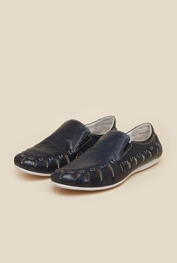 J. Fontini By Mochi Navy Leather Slip-On Loafers