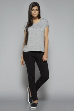 LOV by Westside Grey Textured Lizi T Shirt