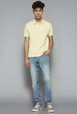 Nuon by Westside Yellow Slim Fit Polo T Shirt