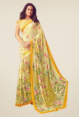 Salwar Studio Lemon Yellow & Pink Floral Print Saree