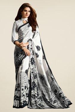 Salwar Studio White & Black Floral Print Saree