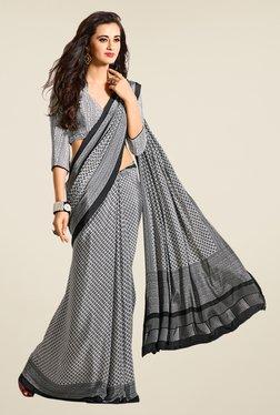 Salwar Studio Black & White Argyle Print Saree