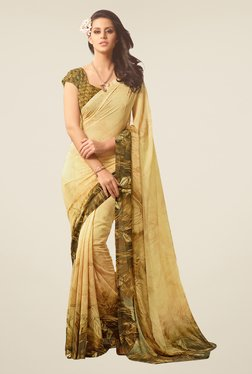 Salwar Studio Mehendi Green & Bronze Printed Saree