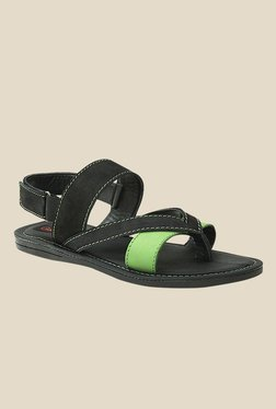 Get Glamr Miller Green & Black Back Strap Sandals