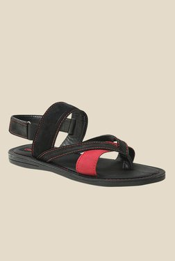 Get Glamr Miller Red & Black Back Strap Sandals