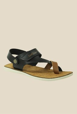 Get Glamr Brad Black & Beige Back Strap Sandals