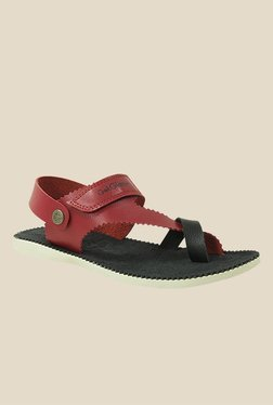 Get Glamr Brad Red & Black Back Strap Sandals