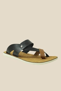 Get Glamr Cohen Black & Beige Back Strap Sandals