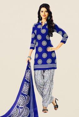 Salwar Studio Dark Blue & Off White Printed Dress Material