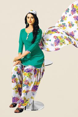 Salwar Studio Sea Green & Off White Printed Dress Material