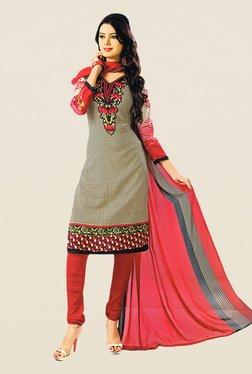 Salwar Studio Beige & Red Printed Dress Material