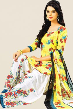 Salwar Studio Yellow & White Floral Print Dress Material