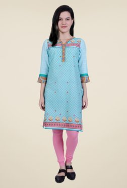 Juniper Sky Blue Printed Kurta