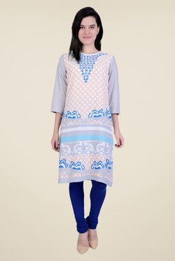 Juniper Peach Printed Kurta
