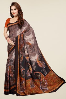 Ishin Brown And Black Faux Georgette Printed Saree