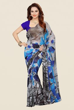Ishin Grey & Blue Faux Georgette Printed Saree