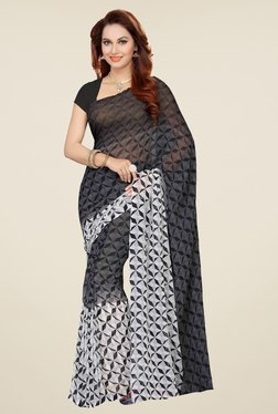 Ishin Grey & White Faux Georgette Printed Saree