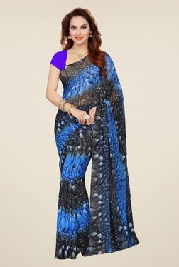 Ishin Blue & Grey Faux Georgette Printed Saree