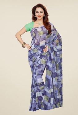 Ishin Purple And Grey Faux Georgette Printed Saree