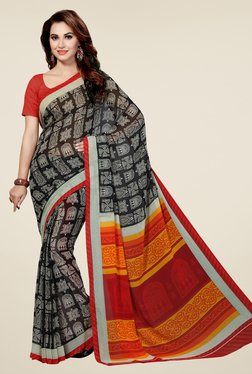 Ishin Black & Red Faux Georgette Printed Saree