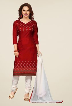 Ishin Red & Off White Printed Unstitched Dress Material