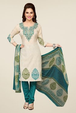 Ishin Green & Beige Printed Unstitched Dress Material