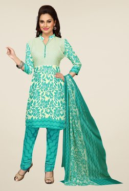 Ishin Teal & Beige Printed Unstitched Dress Material