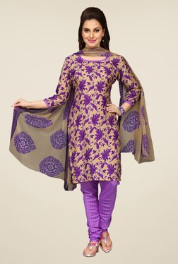 Ishin Purple & Beige Floral Unstitched Dress Material