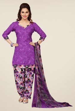 Ishin Purple Floral Print Unstitched Dress Material