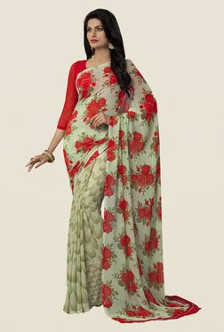 Ishin Beige Faux Georgette Floral Print Saree - Mp000000000448740
