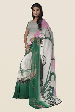 Ishin Off White & Green Faux Georgette Printed Saree