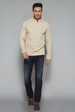 Ascot By Westside Beige Slim Fit T Shirt