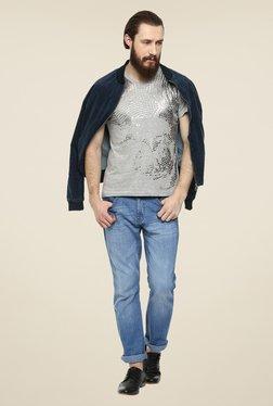 Yepme Grey Metallic Skull Printed T Shirt