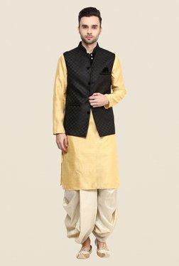 Yepme Black Allen Self Print Nehru Jacket