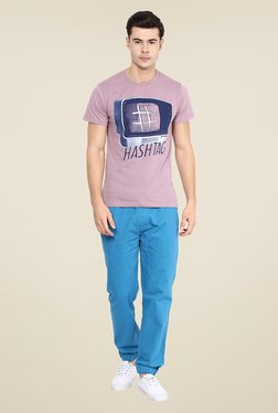 Yepme Mauve Hashtag Graphic Print T Shirt