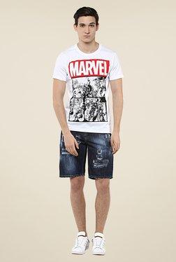 Yepme Marvel Logo White Print T Shirt