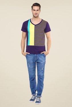 Yepme Purple Block Striped T Shirt