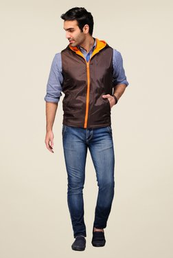 Yepme Orange & Brown Gonzalo Solid Reversible Jacket
