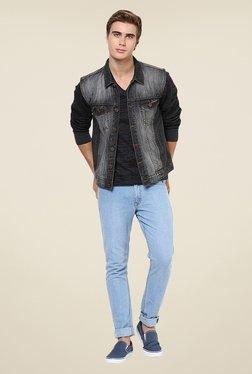Yepme Grey Alfredo Solid Denim Jacket