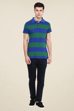 Yepme Dark Blue & Green Brock Striped Polo T Shirt