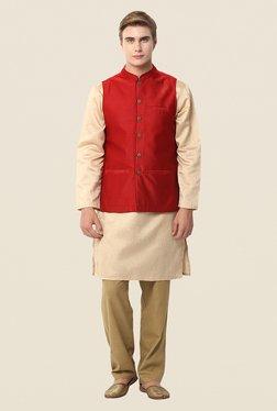 Yepme Red Jack Self Print Nehru Jacket