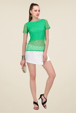 Yepme Green Sherlene Lace Top