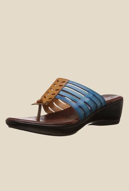 Catwalk Blue & Tan Wedge Heeled Thong Sandals