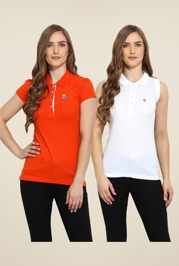 Duke Stardust Orange & White Solid T Shirt (Pack Of 2)