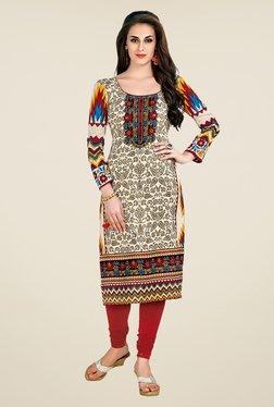 Salwar Studio Beige Floral Print Unstitched Kurti - Mp000000000468261