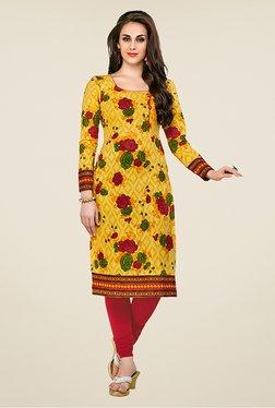Salwar Studio Yellow Floral Print Unstitched Kurti