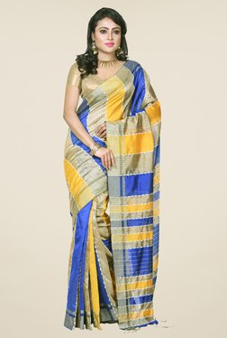 Bengal Handloom Blue & Yellow Cotton Silk Saree